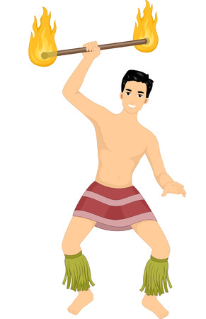 Illustration of a Male Hawaiian Dancer Dancing with a Fire Staff Çizim