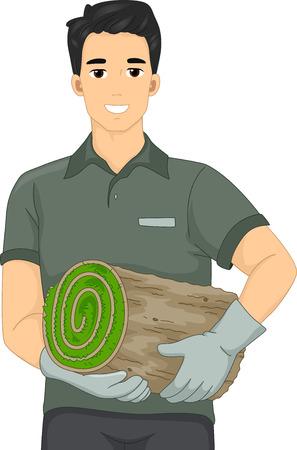 paysagiste: Illustration d'un paysage Artiste homme tenant un rouleau de gazon Illustration