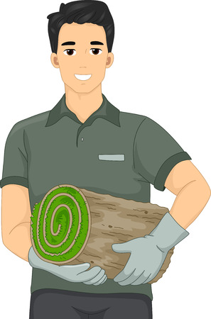 sod: Illustration of a Landscape Artist Man Holding a Roll of Turf