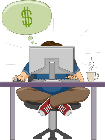 hunched: Illustration of a Man Hunched in Front of His Computer While Working on His Online Business