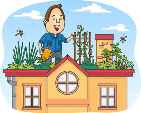 green roof: Illustration of a Man Tending to His Rooftop Garden