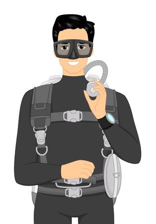 scuba diving: Illustratie van een man in een wetsuit dragen Scuba Diving Gear