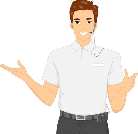 Ilustración de una Guía de Información Hombre que llevaba un auricular