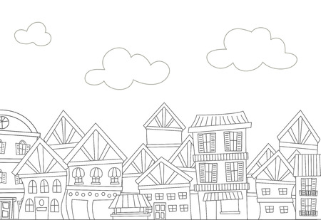 educational materials: Illustration of a Ready to Print Coloring Page Featuring  a Row of Apartments Illustration