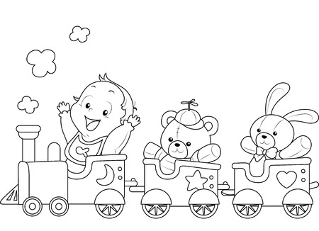 toy train: Illustration of a Ready to Print Coloring Page Featuring a Baby Riding a Toy Train