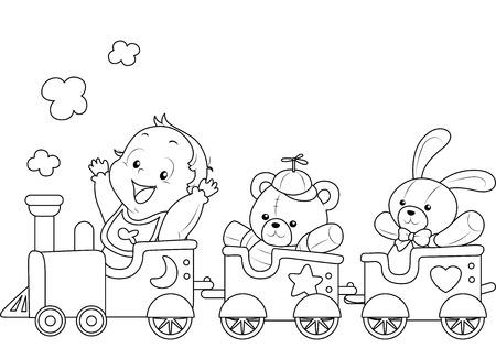 tren caricatura: Ilustración de una Lista imprimir Página para colorear Con un bebé en un tren de juguete Vectores