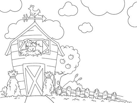 hay bale: Illustration of a Ready to Print Coloring Page Featuring a Barn