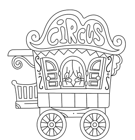 circus caravan: Illustration of a Ready to Print Coloring Page Featuring a Circus Caravan