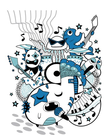 Doodle Illustration of a Group of Cute Monsters Playing in a Band Vector