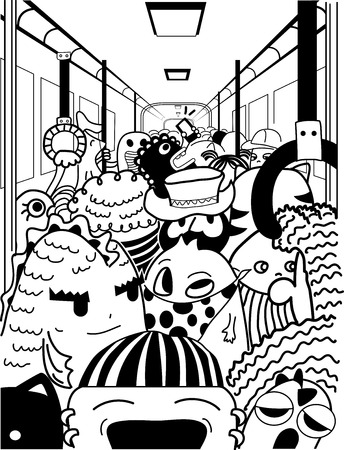 crowded: Doodle Illustration of Cute Monsters in a Crowded Subway Station