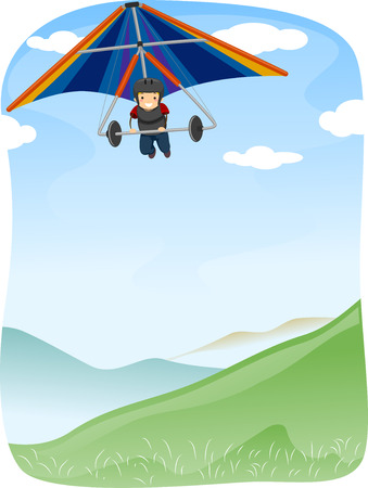 glider: Illustration of a Stickman Maneuvering  Hang Glider