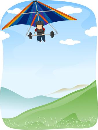 hang glider: Illustration of a Stickman Maneuvering  Hang Glider