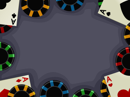 Background Illustration of Aces Accompanied by Casino Chips Illustration
