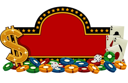 casino chips: Banner Illustration Featuring a Casino Sign Surrounded by Gambling Implements