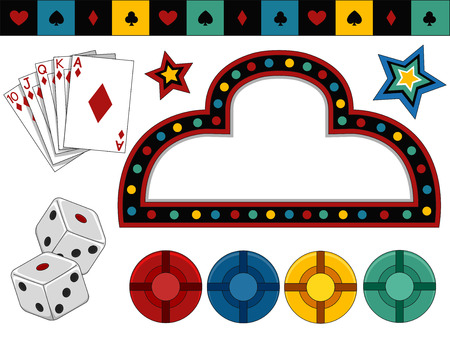 typically: Items of Different Items Typically Associated with Casinos Illustration