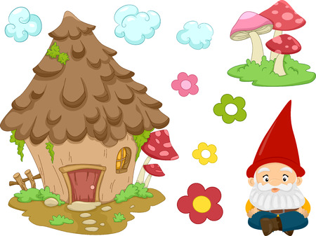 kabouters: Illustratie van de verschillende objecten vaak geassocieerd met Gnomes Stock Illustratie