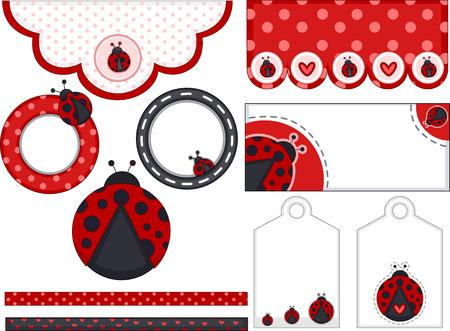 senhora: Ilustração de diferentes itens decorados com padrões Lady Bug Ilustração