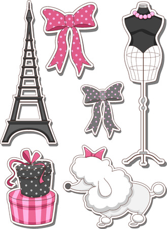Illustration de différents articles couramment associés à Paris Illustration