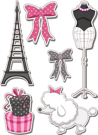 Illustration der verschiedenen Elemente normalerweise mit Paris Assoziierte Vektorgrafik