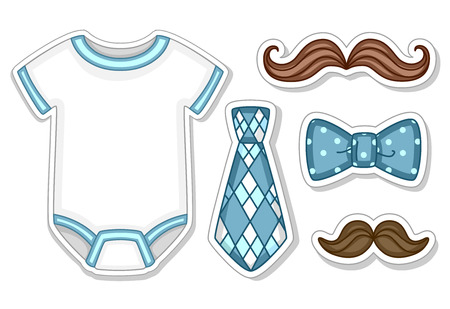 blue tie: Illustration of Items Commonly Worn by Baby Boys
