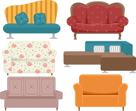 divan: Ilustración de sofás con diferentes estilos y diseños
