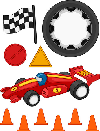 Illustration of Different Items Commonly Associated With Car Racing Vector