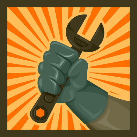 monkey wrench: Icon Illustration of a Hand Gripping  a Wrench