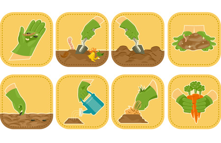 Icon Illustration Demonstrating the Agricultural Cycle