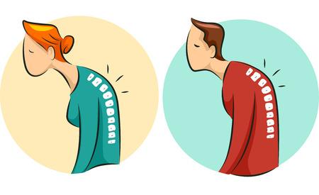 osteoporosis: Ilustración de un hombre Encorvado y mujer que sufre de osteoporosis Vectores