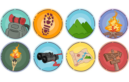 climbing gear: Icon Illustration of Different Items Commonly Associated With Mountaineering Illustration