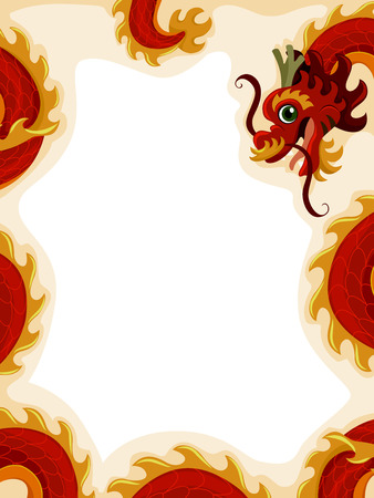 dragon year: Background Illustration Decorated With a Red Dragon