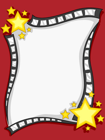 showbiz: Frame Illustration of a Film Negative Decorated With Colorful Stars