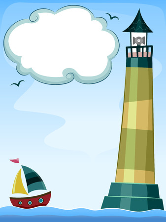 Background Illustration of a Sailboat Approaching a Lighthouse Vector