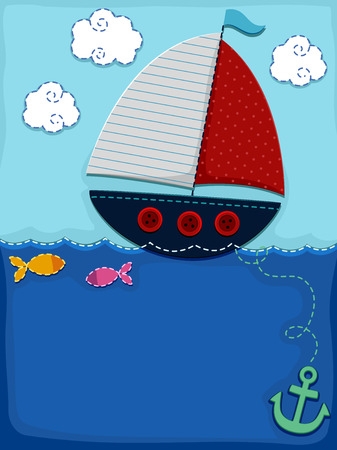 clip arts: Background Illustration of a Sailboat Dropping Anchor