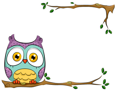 branch isolated: Background Illustration of a Cute and Colorful Owl Perched on a Branch Illustration