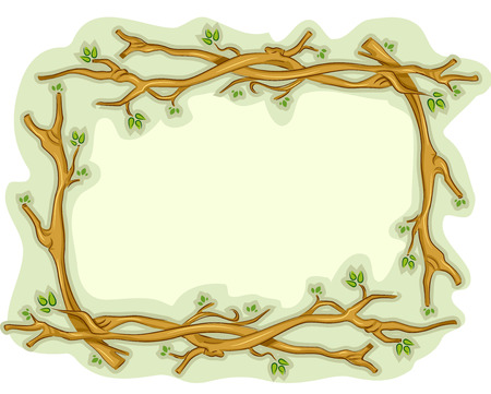 twigs: Illustration of a Frame Decorated With Pieces of Twigs