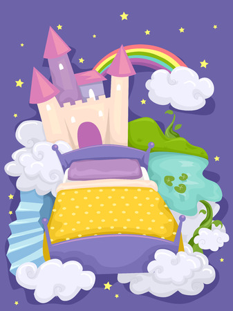 fantastical: Illustration of a Bed with a Castle and a Mysterious Forest in the Background