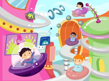 미래의 도시 주위에 운전하는 아이의 그림