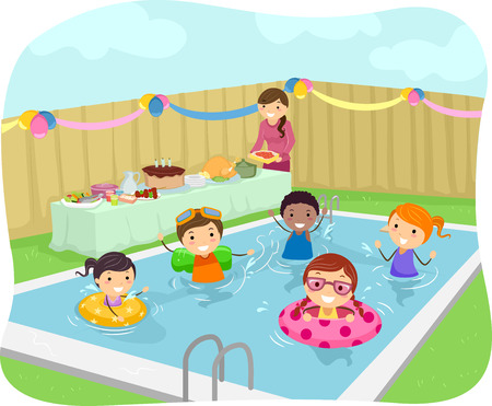 自分の庭でプール パーティーを持つ子供たちのイラスト