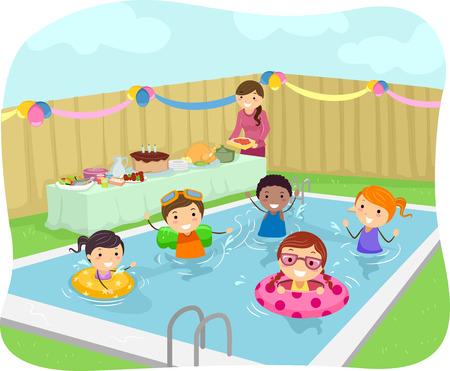 Illustratie van Kids Met een Pool Party in hun tuin Stock Illustratie