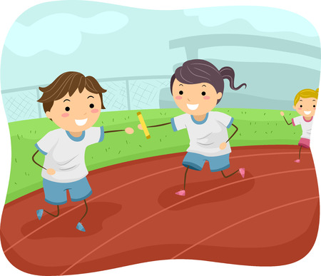 Illustration of Kids Participating in a Relay Race  イラスト・ベクター素材