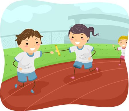 リレーのレースに参加する子供たちのイラスト
