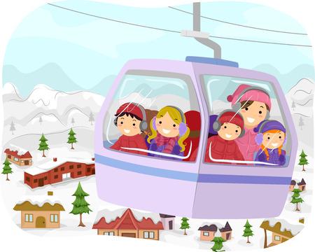 雪ケーブルで学校に行く子供たちのイラスト