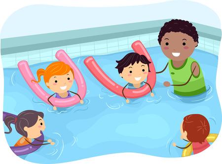 아이의 그림은 수영 코치로 수영하는 방법을 배우고있는 일러스트