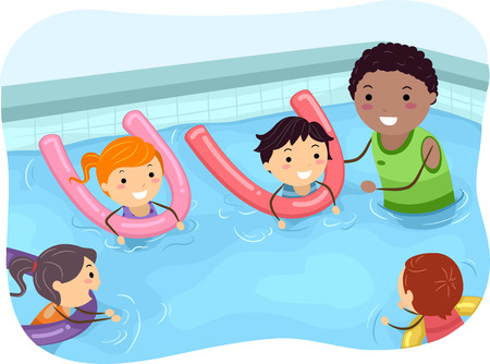young boy in pool: Illustration of Kids Being Taught How to Swim by a Swimming Coach