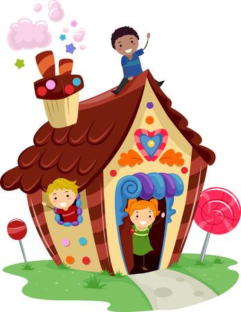 casita de dulces: Ilustración de niños jugando en un Fancy House Made of Candies Vectores