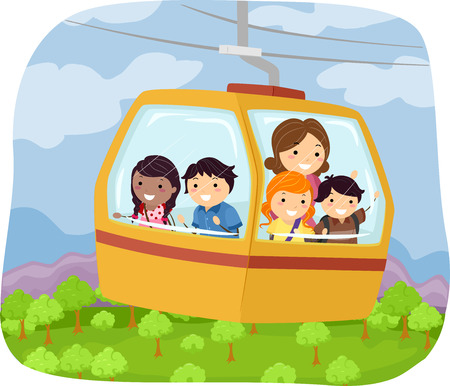 cable car: Illustration of Kids Riding a Cable Car to School Illustration