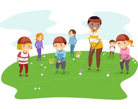 彼らのコーチからのゴルフ レッスンを取得子供のイラスト