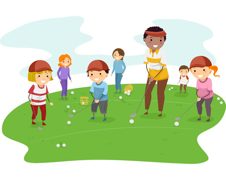 Illustration of Kids Getting Golf Lessons From Their Coach Vectores