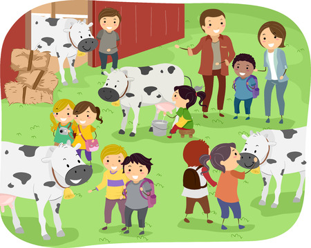 Illustration of Kids Checking Out Cows During a Field Trip in a Dairy Farm Vectores